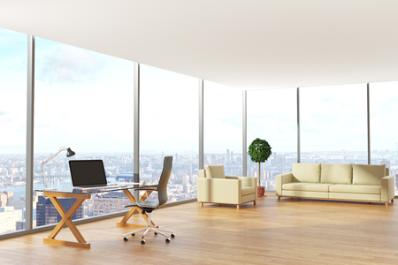 Contemporary office interior with workplace, lounge area and city view. 3D Rendering Banco de Imagens