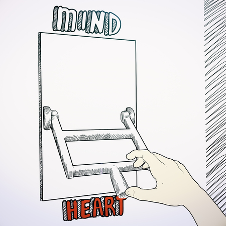 Sketch of hand switching to heart to mind mode