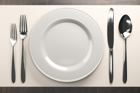 Close up of empty ceramic plate and cutlery on wooden table. Mock up, 3D Rendering Stock Photo