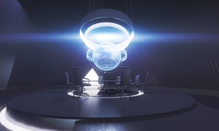 business meeting: Dark conference room interior with globe above table. International business concept. 3D Rendering