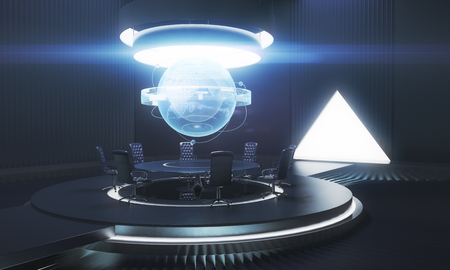 mason: Dark meeting room interior with globe above table. Global business concept. 3D Rendering