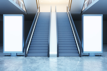 Escalator and empty ad posters. Mock up, 3D Rendering Stock Photo - 76682715