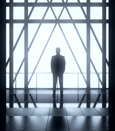 Back view of thoughtful young businessman in abstract backlit interior with balcony and railing. Research concept, 3D Rendering Reklamní fotografie