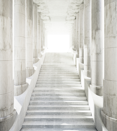 Ancient marble columns and stairs leading to success. 3D Rendering Stock Photo