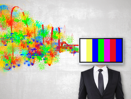 TV screen headed businessman on concrete background with colorful scribble. Creativity concept