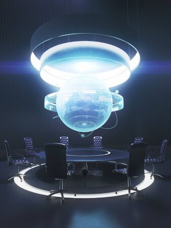 Dark meeting room interior with globe above table. Global business concept. 3D Rendering