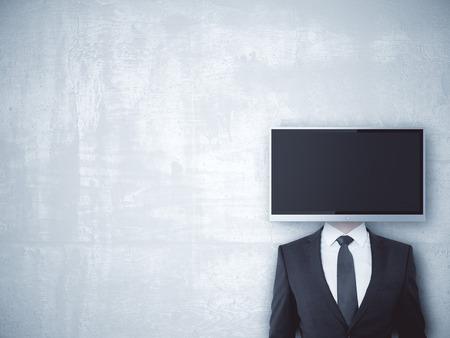 TV screen headed businessman on concrete background. Mock up