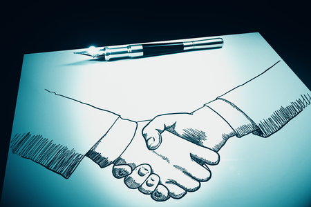 Top view and close up of drawn handshake on paper sheet with pen. Teamwork concept. 3D Rendering