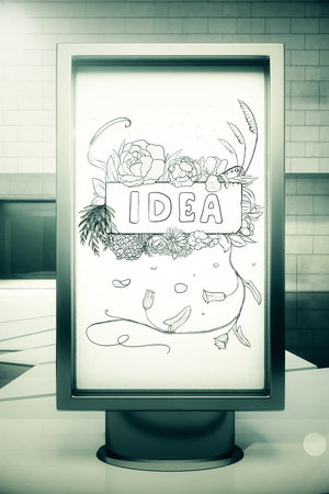 brain illustration: Front view of banner with creative sketch. Idea concept. 3D Rendering