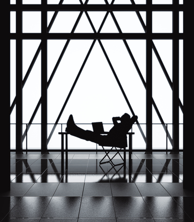 Relaxing man on chair in bstract backlit interior with balcony and railing. Success concept, 3D Rendering Reklamní fotografie