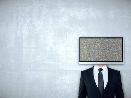 TV screen headed businessperson on concrete background. Mock up Stock Photo