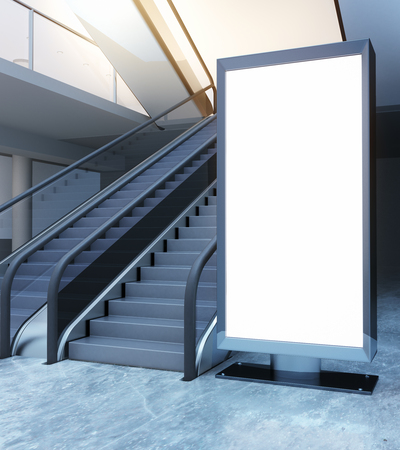 Escalator and empty ad banner. Mock up, 3D Rendering