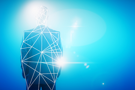 Back view of young businessman with polygonal pattern on abstract blue background. Search concept. Double exposure