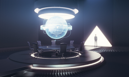 business meeting: Dark meeting room interior with globe above table and businessmans shadow. International business concept. 3D Rendering