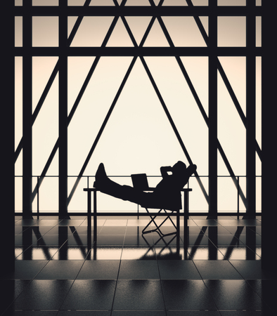 Relaxing businessman on chair in bstract backlit interior with balcony and railing. Success concept, 3D Rendering Reklamní fotografie