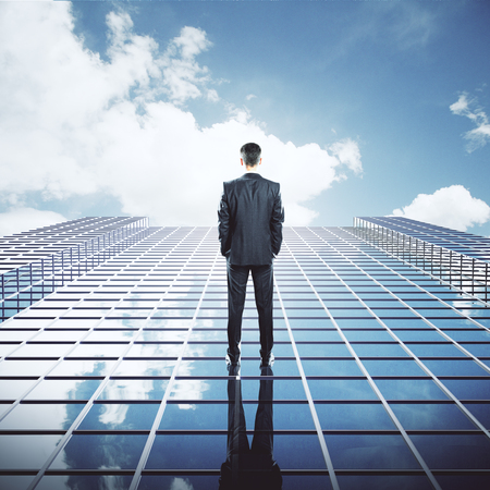 Back view of young businessman standng on glass skyscraper on sky background
