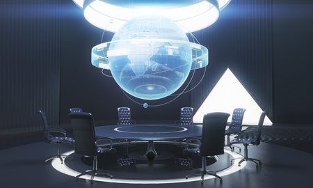 Dark conference room interior with globe above table. International business concept. 3D Rendering Stock Photo