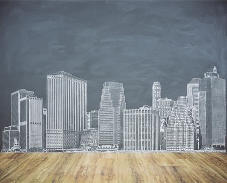黒板壁の創造都市のスケッチ。都市化の概念
