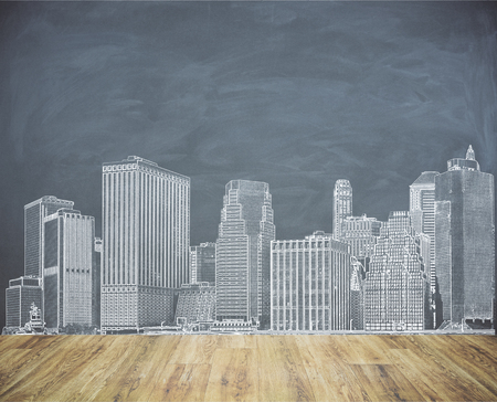 urbanization: Creative city sketch on chalkboard wall. Urbanization concept