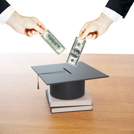 Businessmen putting dollar pills in mortarboard money bank. Saving for school concept. 3D Rendering