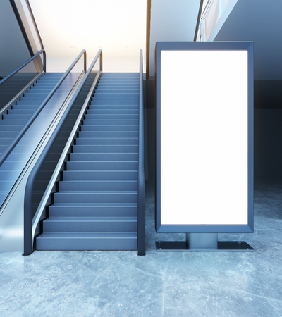 Escalator and empty ad stand. Mock up, 3D Rendering Stock Photo
