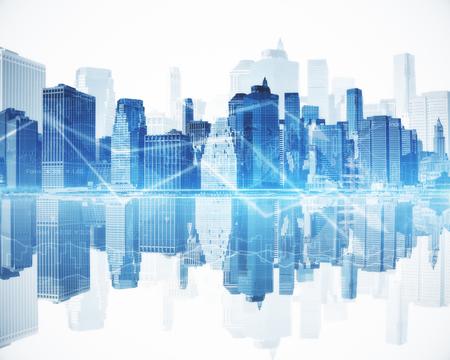 Abstracte blauwe stad met zakelijke grafiekpijlen. Financieel groeiconcept