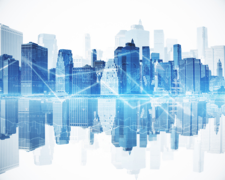 Abstract blue city with business chart arrows. Financial growth concept