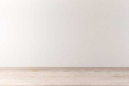空の光の壁と木製の床で内装のフロント ビュー。モックアップ、3 D レンダリング