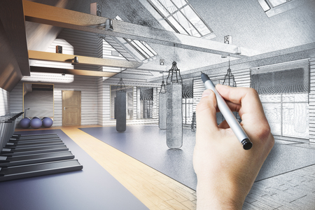 attic: Hand drawing unfinished gym project. 3D Rendering Stock Photo