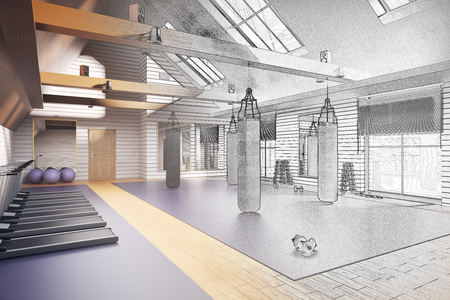 health resort: Unfinished gym project. 3D Rendering