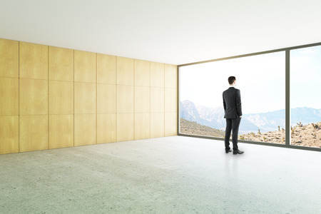 wood floor: Side view of businessman looking out of window in unfurnished loft interior with panoramic landscape view. 3D Rendering Stock Photo