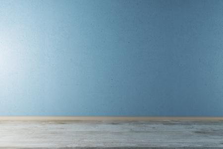 Vue de face de l'intérieur avec mur bleu blanc et plancher en bois. Maquette, rendu 3D Banque d'images - 77014047
