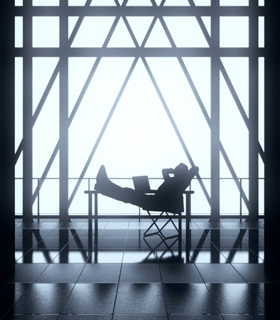 Relaxing businessperson on chair in bstract backlit interior with balcony and railing. Success concept, 3D Rendering