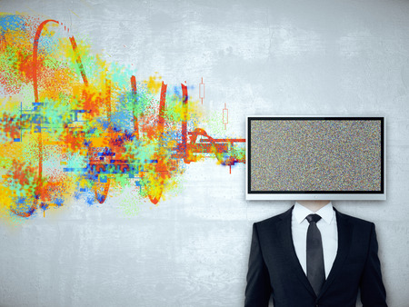 TV screen headed businessman on concrete background with colorful scribble. Mock up