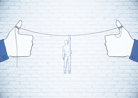 Drawn hands holding rope with hanging man. Risk concept Stock Photo