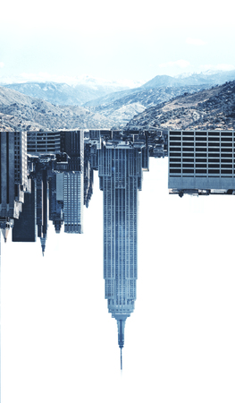 down town: Creative image of upside down city and landscape on white background