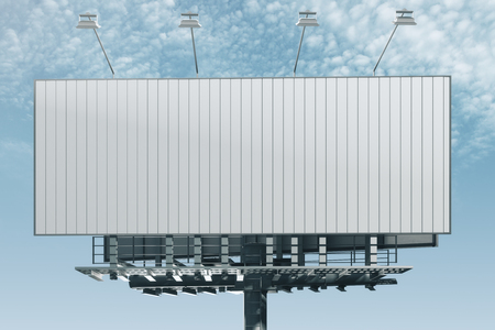 Front view of empty billboard on bright blue sky background. Advertisement concept. 3D Rendering