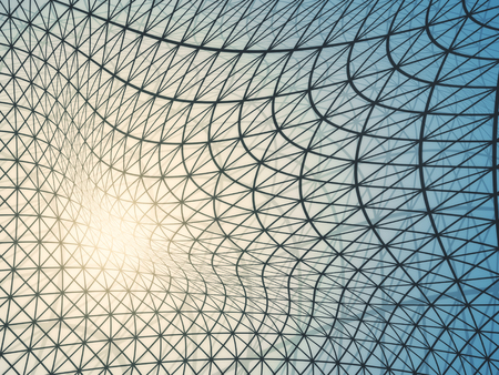 Abstract light grid net. 3D Rendering Stock Photo