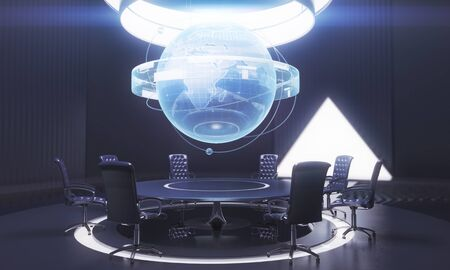 mason: Dark conference room interior with globe above table. International business concept. 3D Rendering