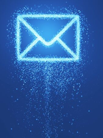 e business: Creative letter icon on blue background. E-mail concept