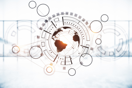 ぼやけて背景世界と創造的なデジタル ビジネス チャート。デジタル ビジネス コンセプトです。3 D レンダリング