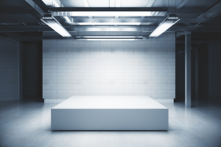 Front view of empty podium in light warehouse interior. Mock up, 3D Rendering