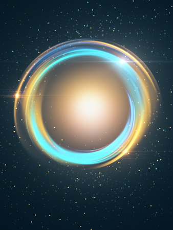 Abstract colorful button in starry night sky. 3D Rendering