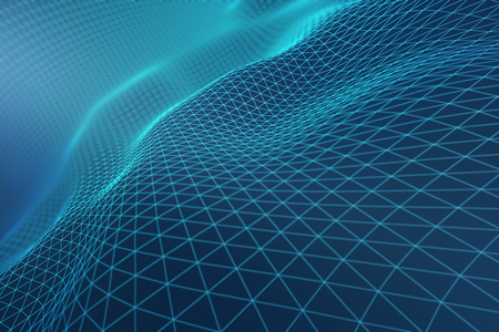 Abstract light blue grid waves. Tech concept. 3D Rendering Stock Photo