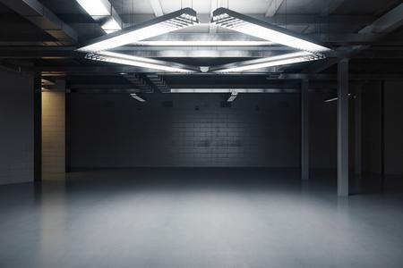 Empty dark grungy interior. 3D Rendering