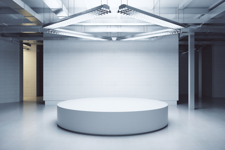 Light interior with podium. Exhibition concept. Mock up, 3D Rendering