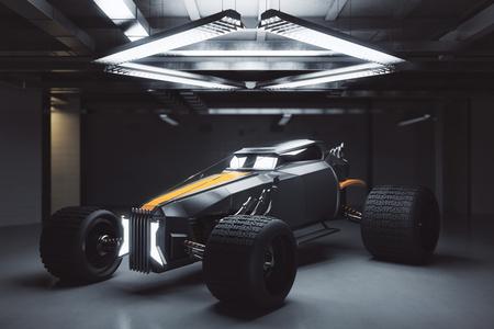 Car model inside garage. Transportation concept. 3D Rendering