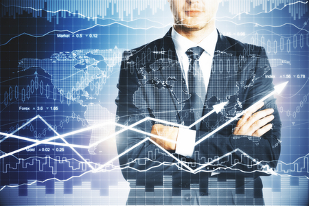 arms trade: Businessman with folded arms standing on abstract forex chart background. Financial growth concept Stock Photo