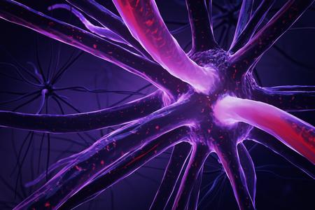 Close up of purple neuron. Medicine concept. 3D Rendering