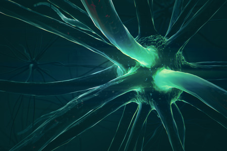 Close up of dark neuron. Medicine concept. 3D Rendering